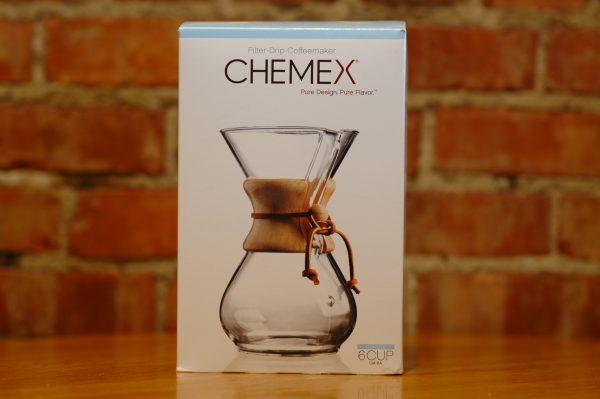 Chemex Coffee Brewer on a table inside of Lakota Coffee Company