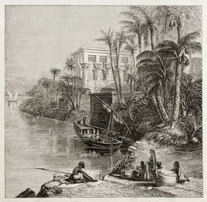 A drawing of a river meeting a city's edge with people in boats
