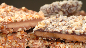 Up close image of layered English toffee