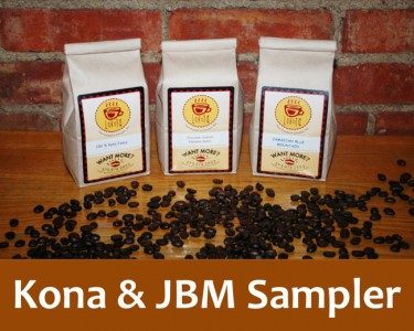Kona and JBM Sampler in three bags of Lakota Coffee Company coffee grounds