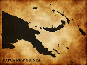 A rustic map of Papua New Guinea in black against a tan and shadowed background