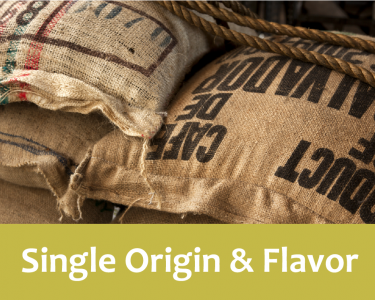 Single origin and flavor written in white font against a green background