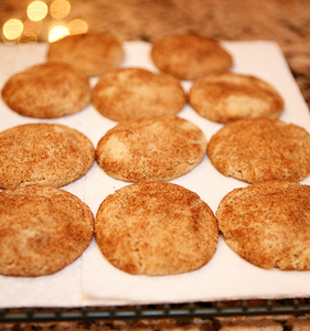 Snickerdoodle cookies setting in rows