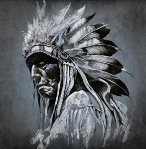 Native American chief with feathered headdress on