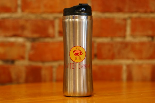 Lakota Coffee Company stainless steel travel tumbler with black lid