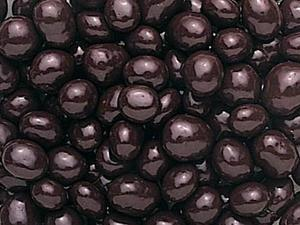 Chocolate covered espresso beans close up