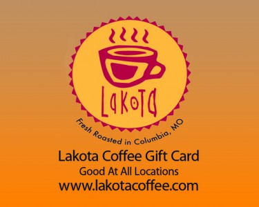 A Lakota Coffee Company gift card with an orange ombre back ground and black type.