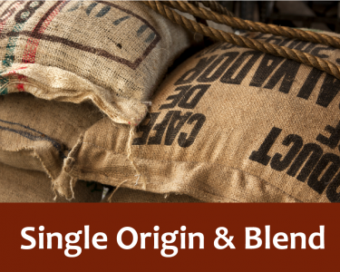 Single origin and blend written in white letters against a red background