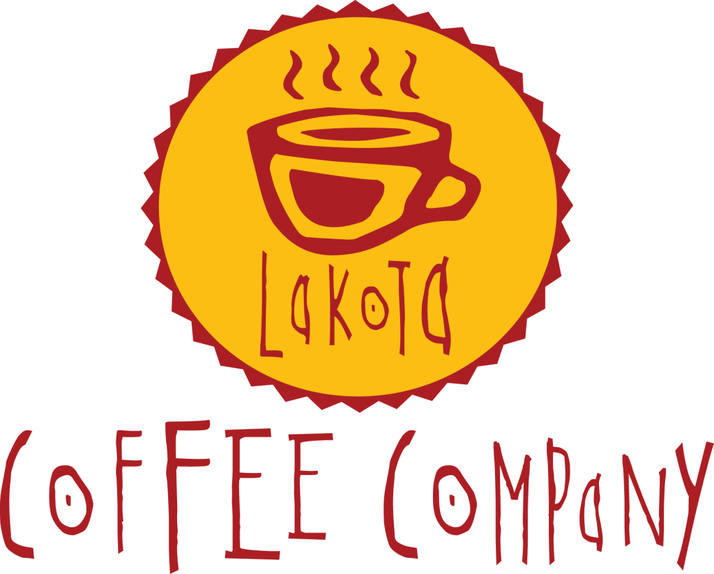 Red and yellow Lakota Coffee Company logo with steaming cup of coffee stencil in red