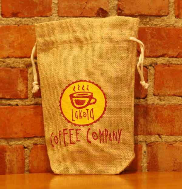 Burlap, drawstring bag with Lakota Coffee Company logo on the front