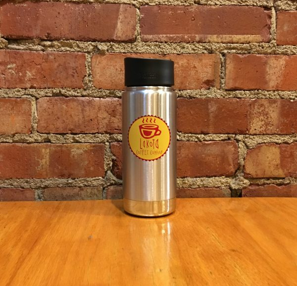 Stainless steal water bottle with Lakota Coffee Company logo on the front